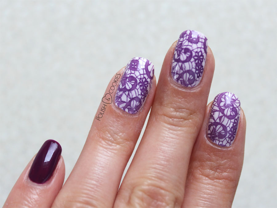 Purple Lace Stamping Nails