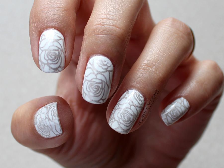 paznokcie ślubne ze złotym