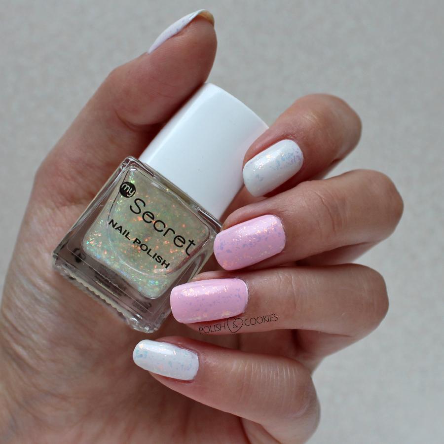 paznokcie syrenka różowe białe my secret