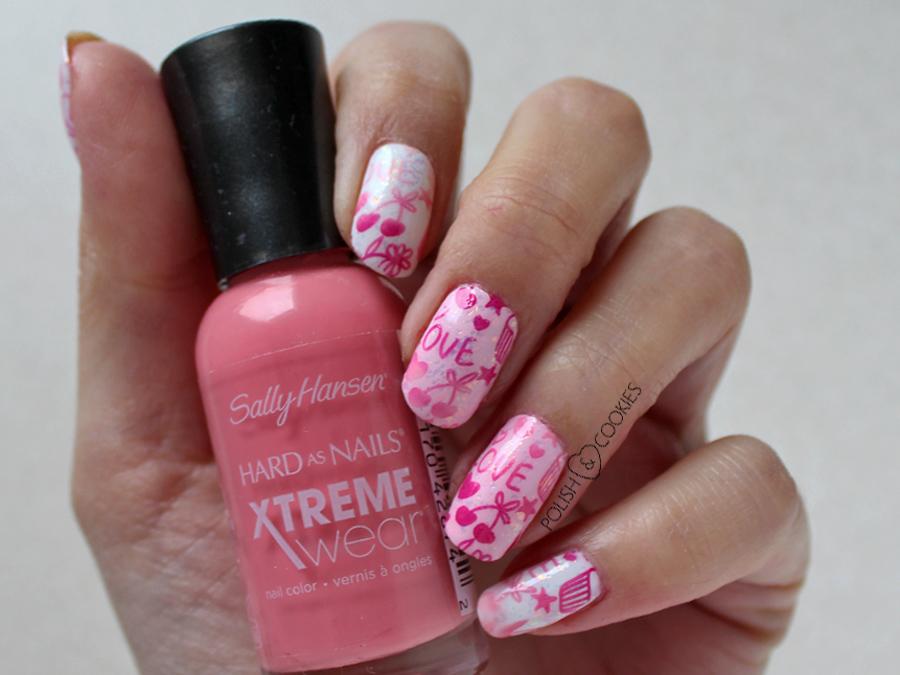 paznokcie różowe stemple gradient ombre sally hansen
