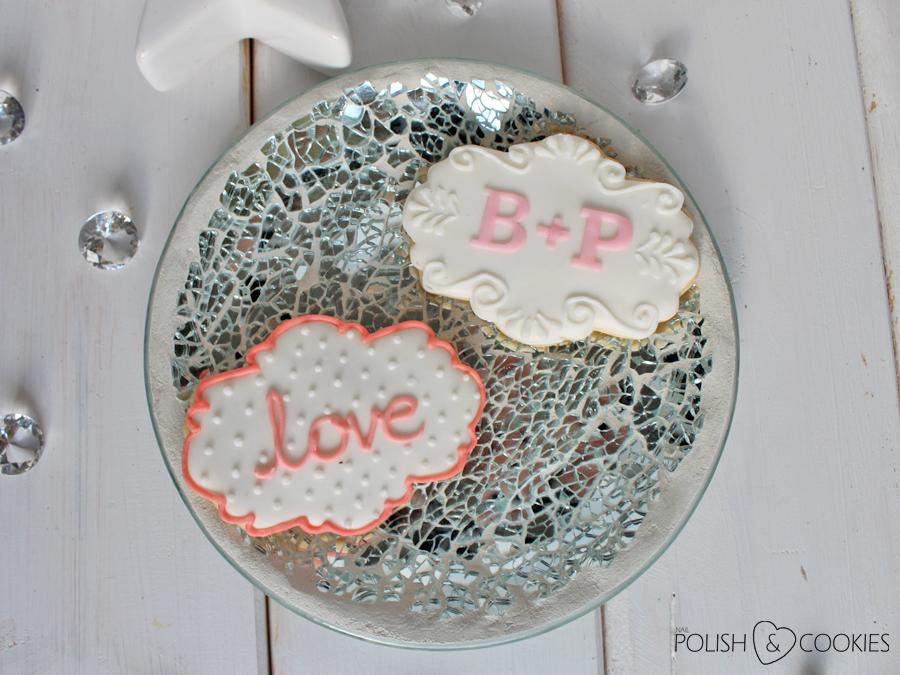 ciasteczka weselne dla gości love z inicjałami
