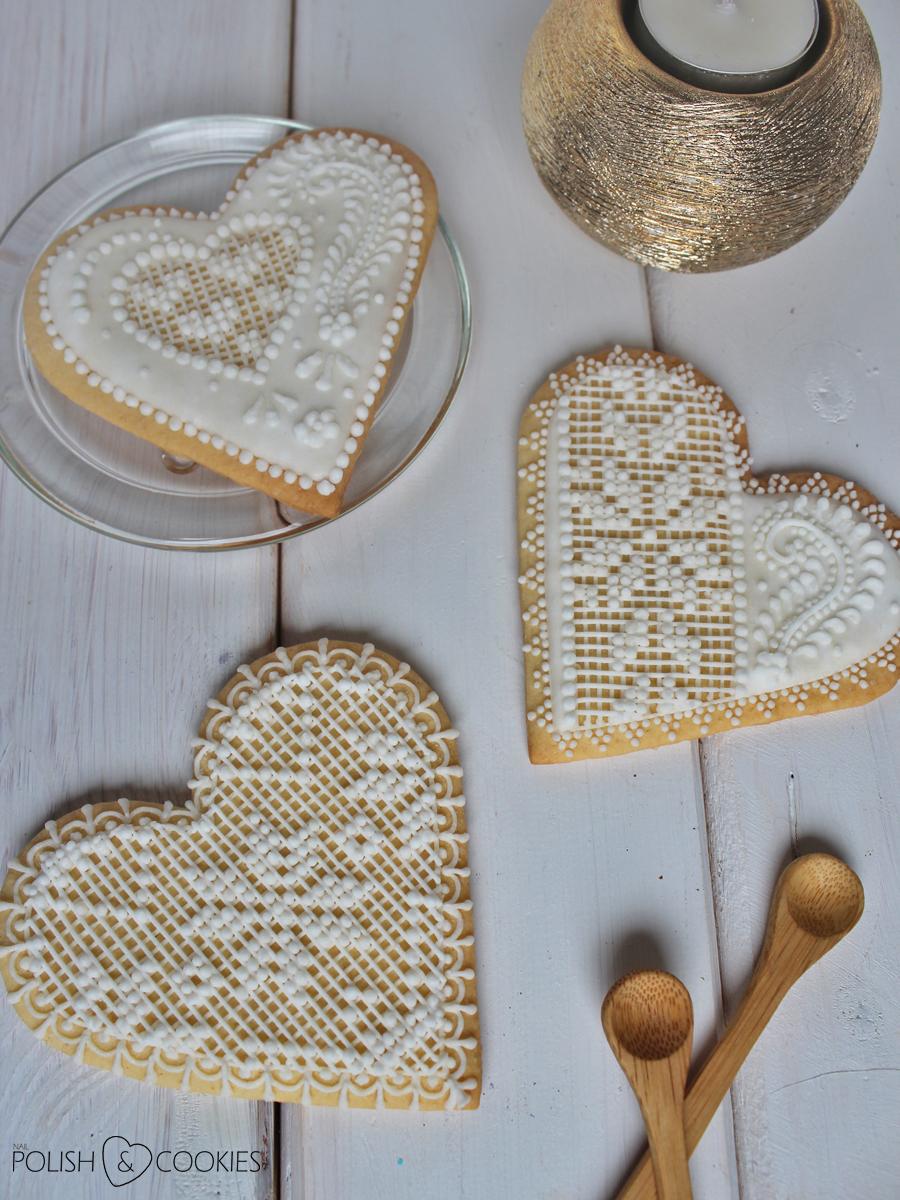 koronkowe ciasteczka lukrowane serca prezent na walentynki