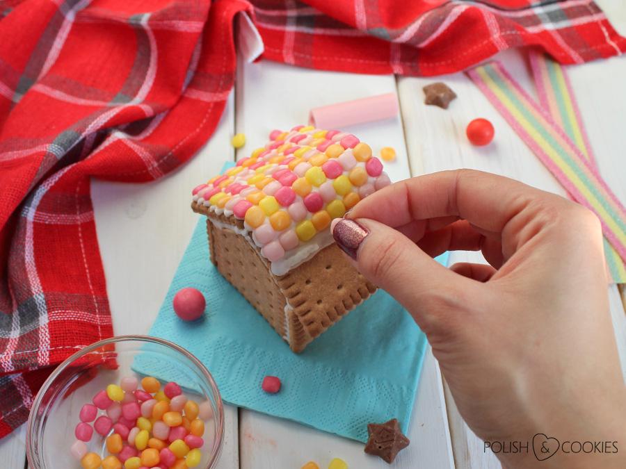 domki z herbatników dekoracja słodyczami bez pieczenia tutorial