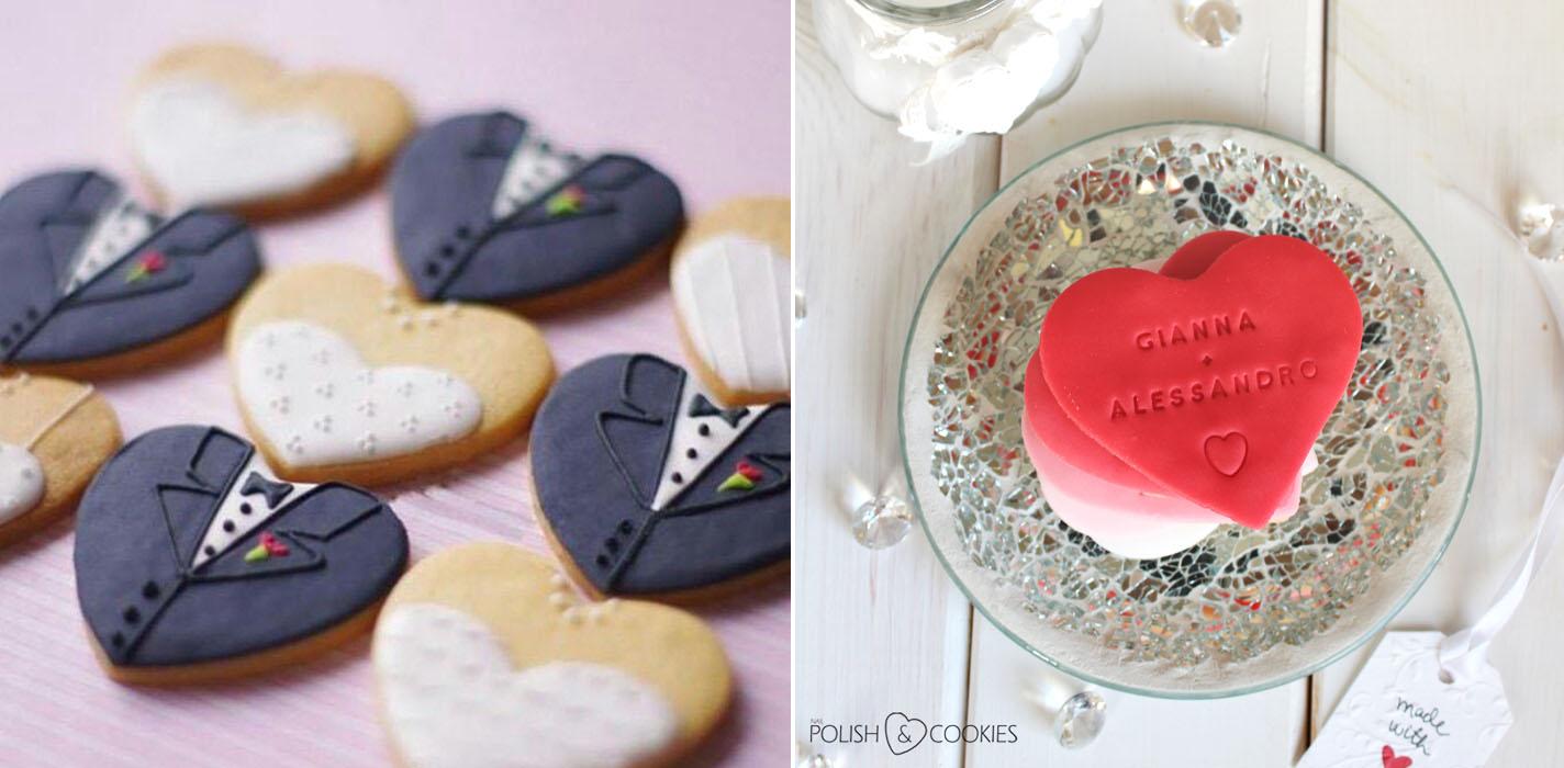 Ciasteczka ślubne na prezent dla gości eleganckie sukienka i garnitur