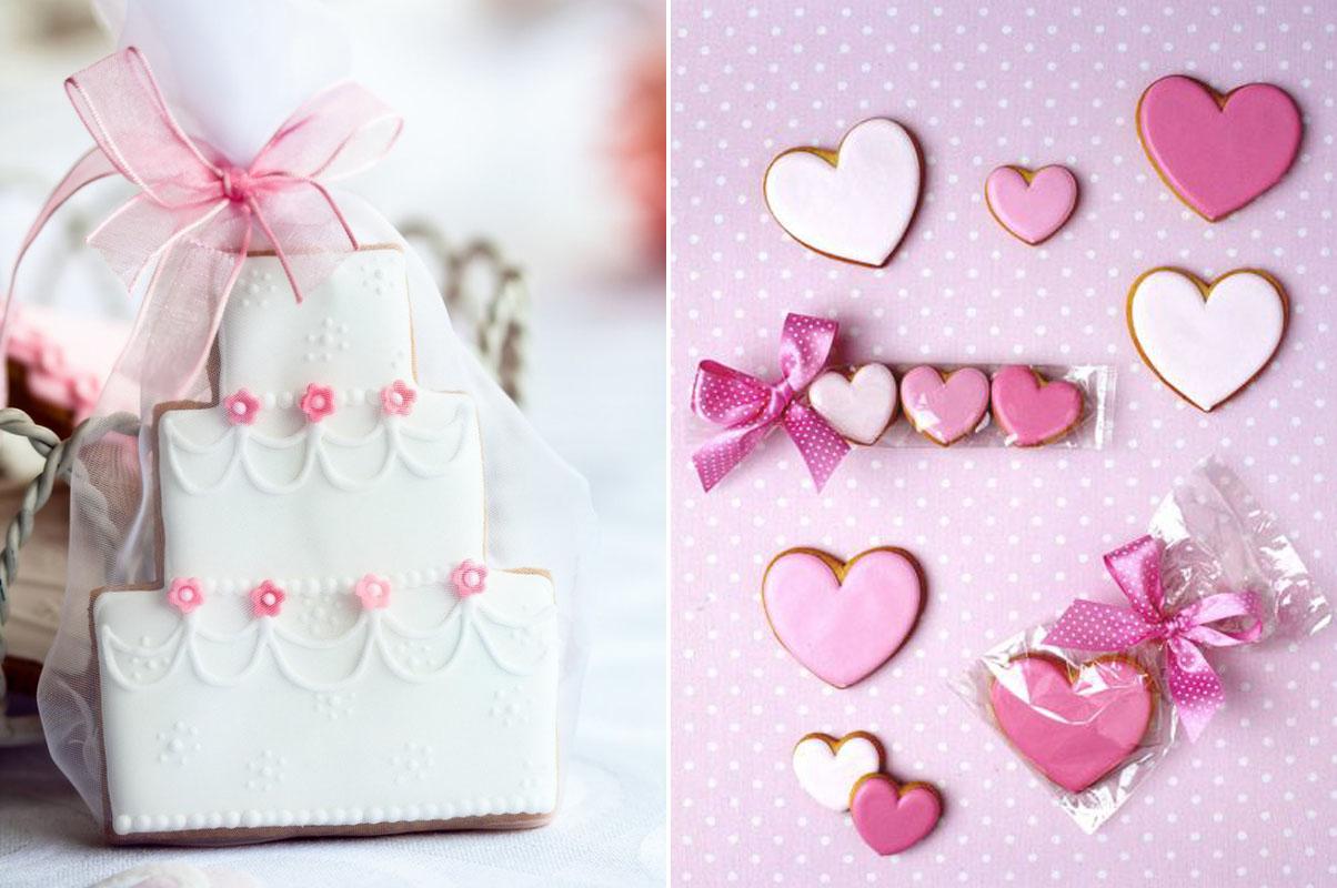 Ciasteczka ślubne weselne torty serduszka różowe białe