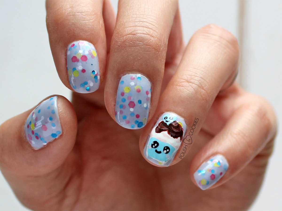 wzorki na paznokcie tutorial kawaii  babeczki cupcake