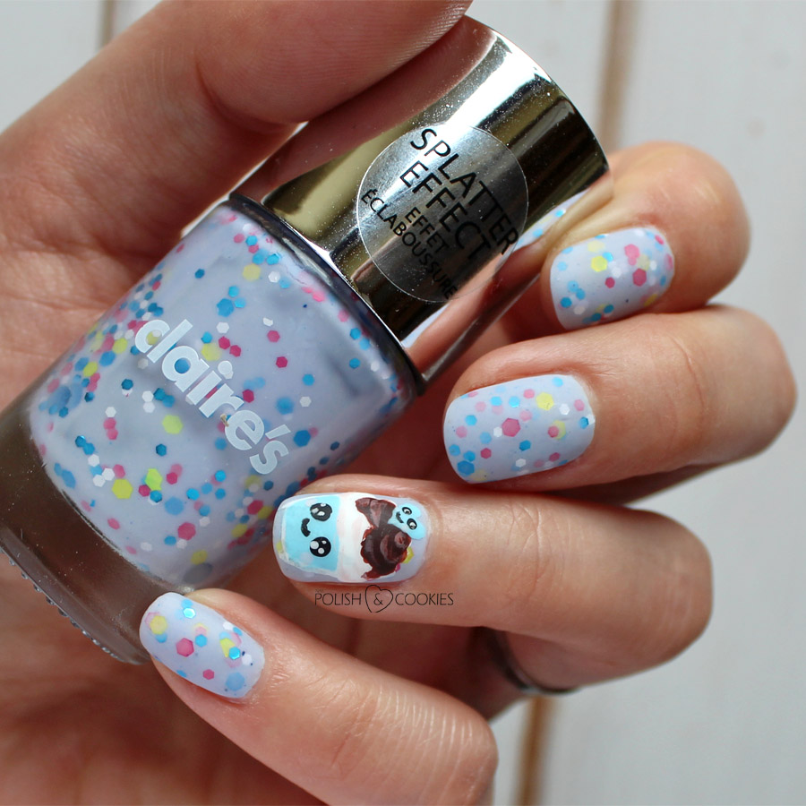 paznokcie kawaii cupcake babeczki claires konfetti splatter