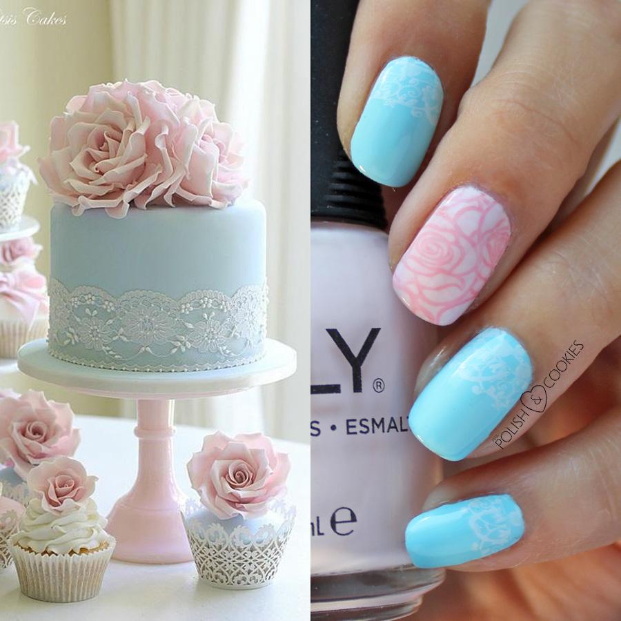 tort i paznokcie z koronką róże stempelki do pazokci
