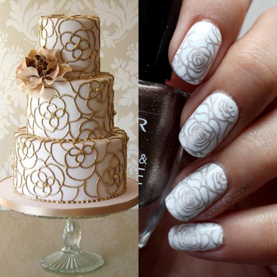 paznokcie inspirowane tortem złote stemple