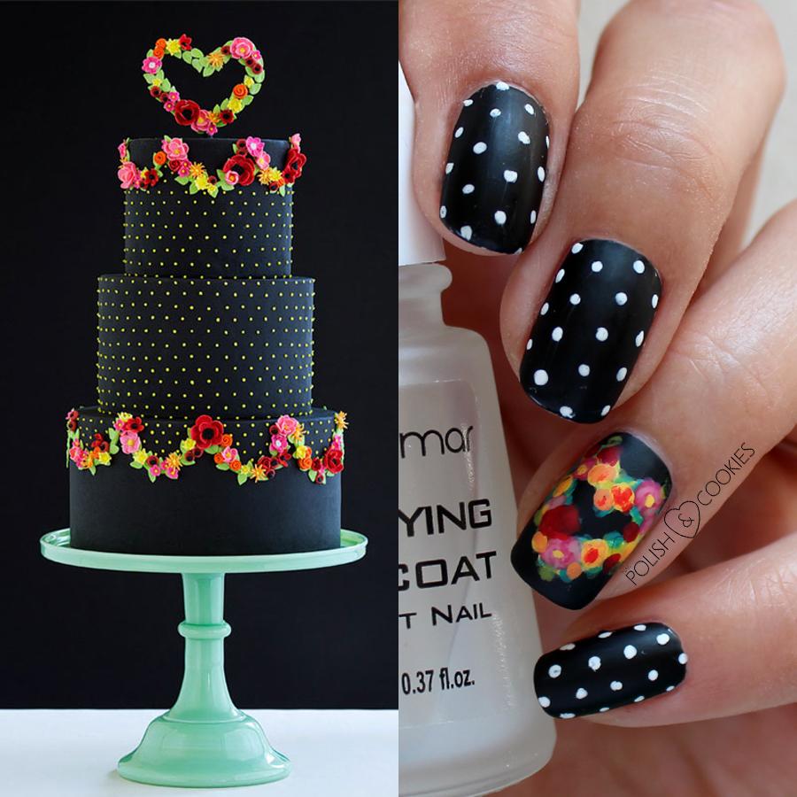 paznokcie inspirowane tortami czarne w kropki ludowe kwiaty