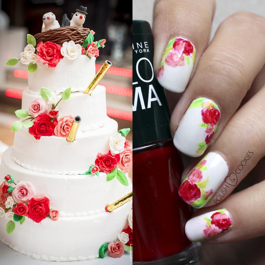 paznokcie i tort weselny z kwiatami róże na paznokciach