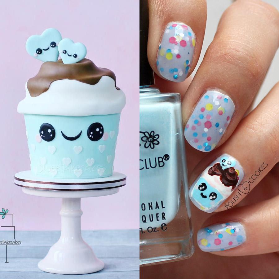 paznokcie kawaii babeczki słodycze cupcakes urocze wzorki na paznokcie