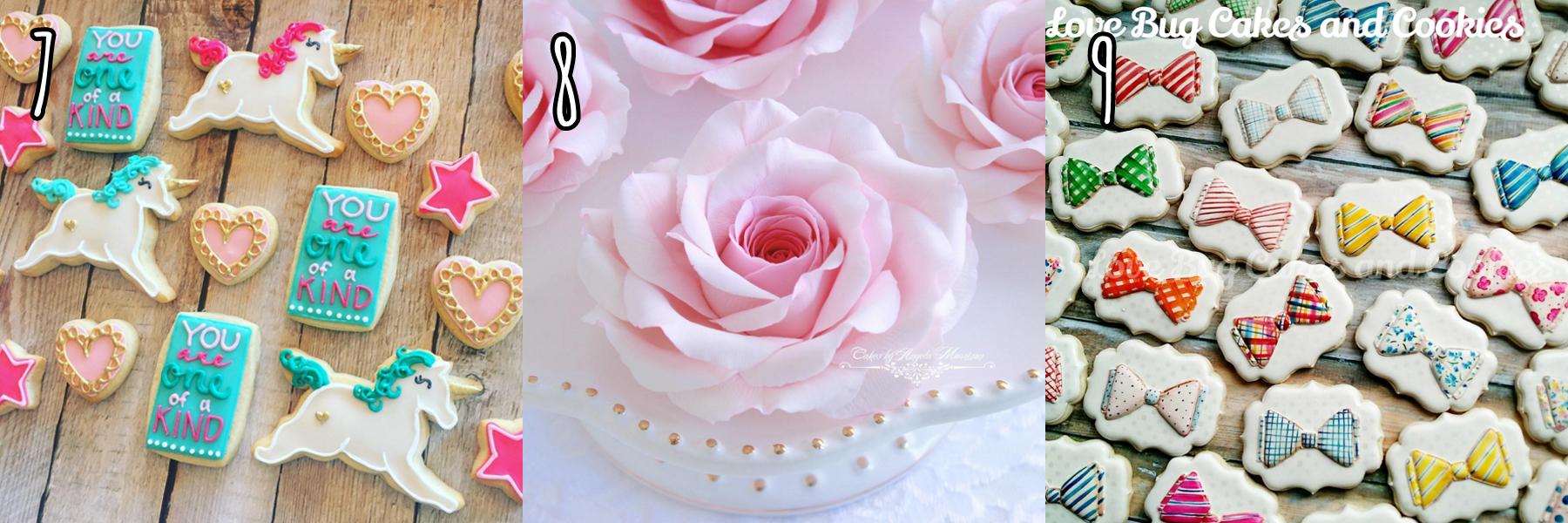 cukiereczki ciasteczka muszki jednorożce róża z masy cukrowej