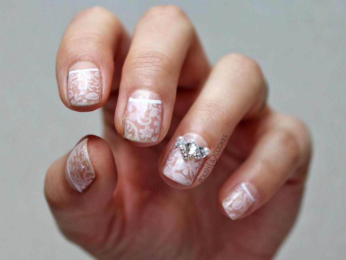 paznokcie ślubne z koronka