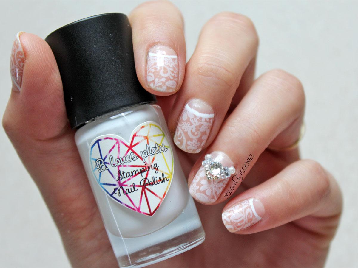 eleganckie paznokcie ślubne delikatne z koronką