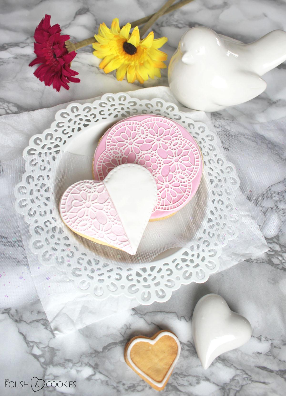 ciasteczka ślubne z koronką