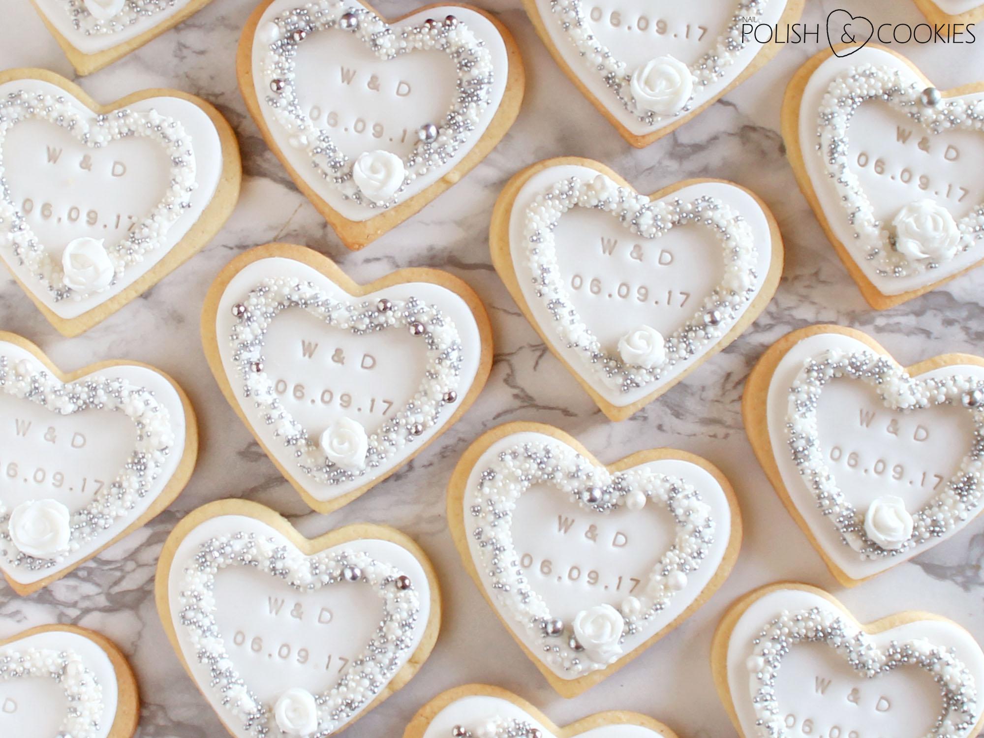 eleganckie ciasteczka ślubne