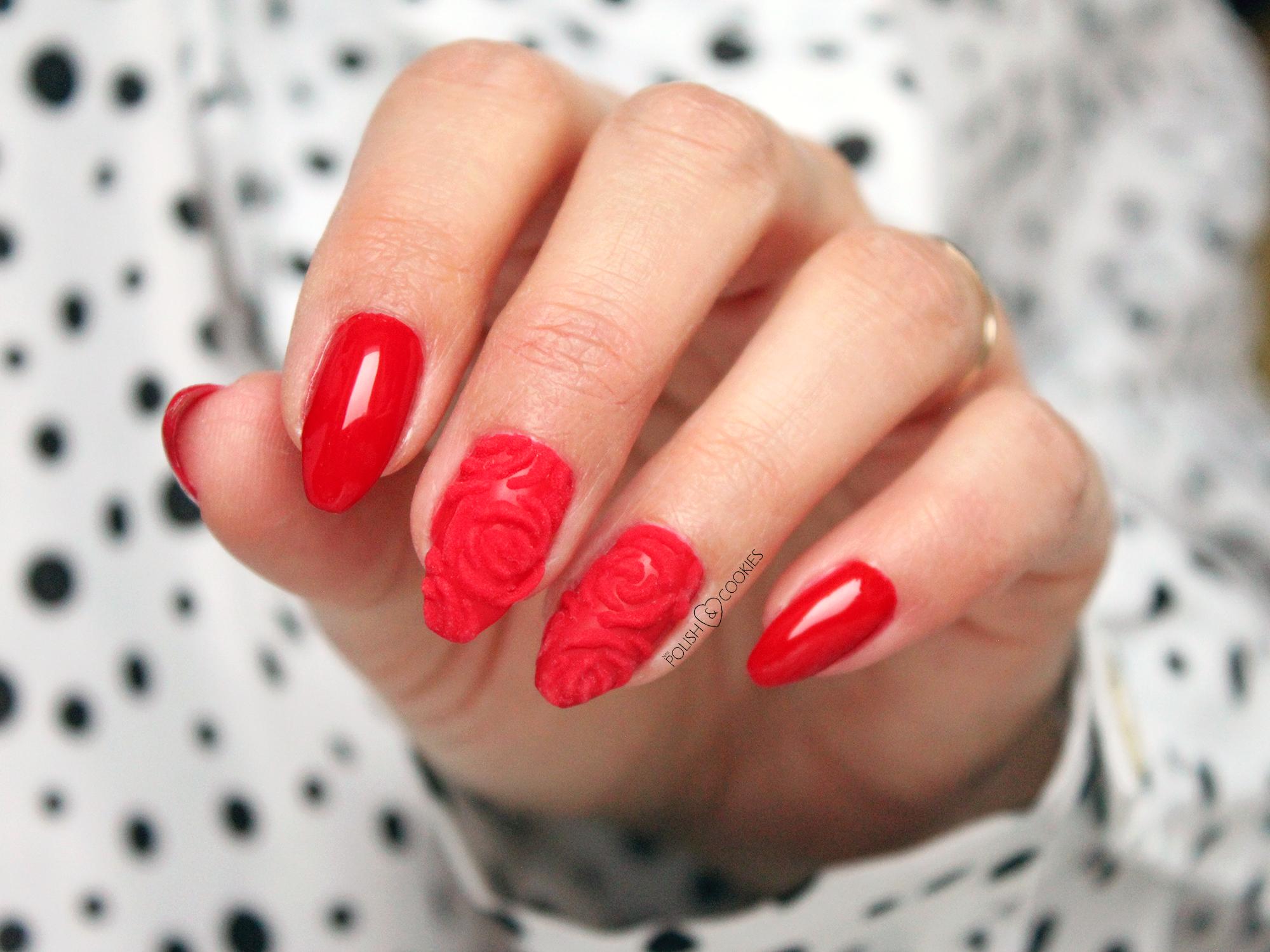 roza 3d paznokcie