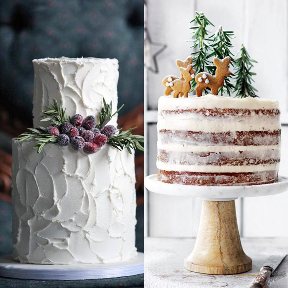 zimowe wesele torty rustykalne