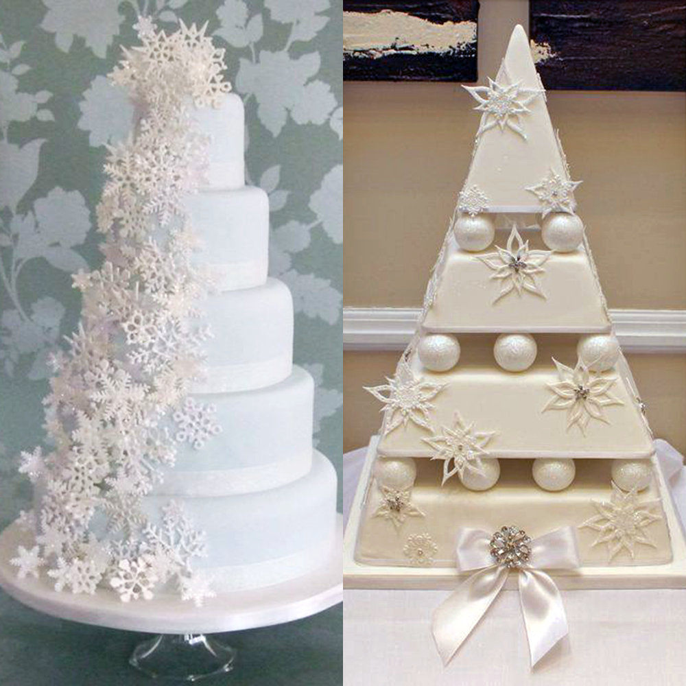 zimowe wesele torty sniezynki
