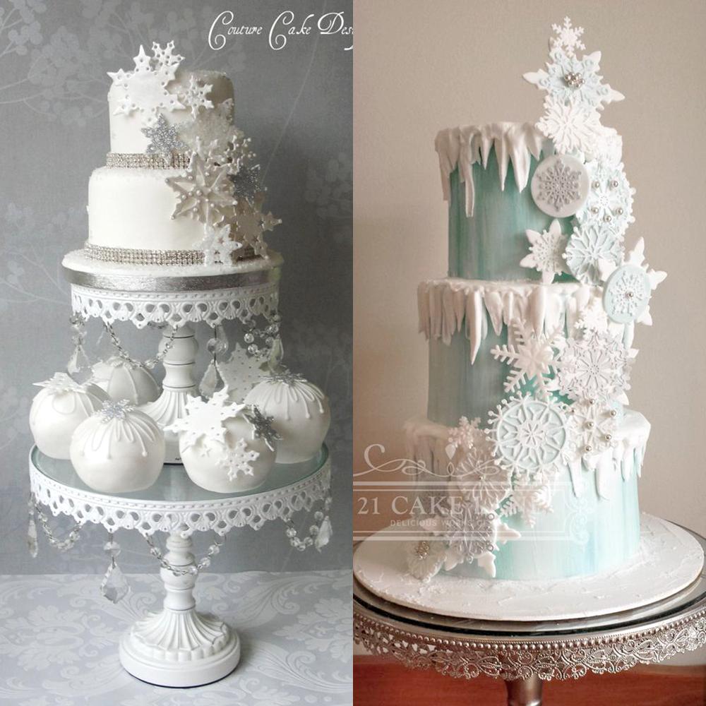zimowe wesele torty sniezynki inspiracje