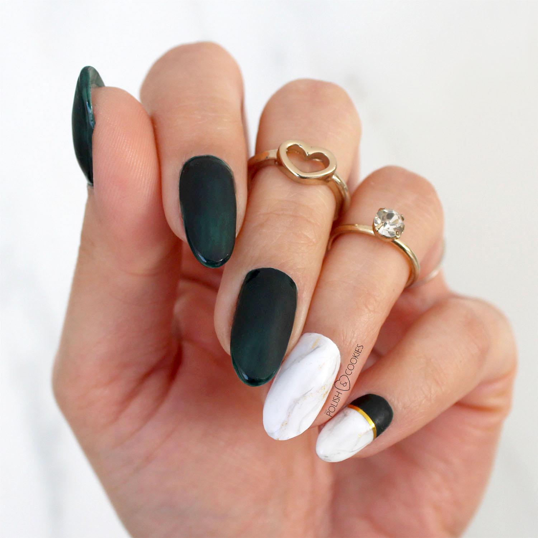 paznokcie zielen i marmurek