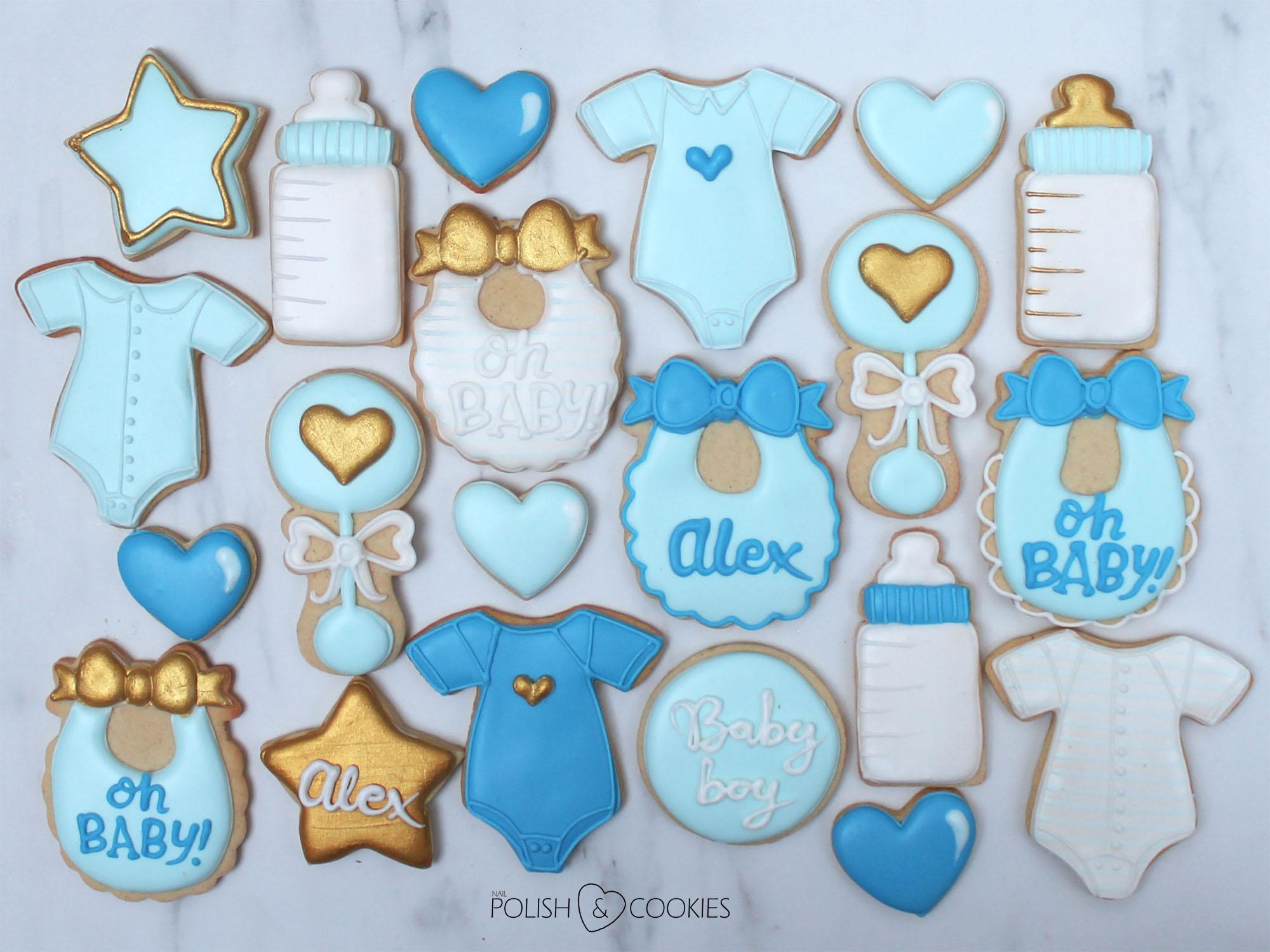 ciasteczka baby shower niebiesko zlote