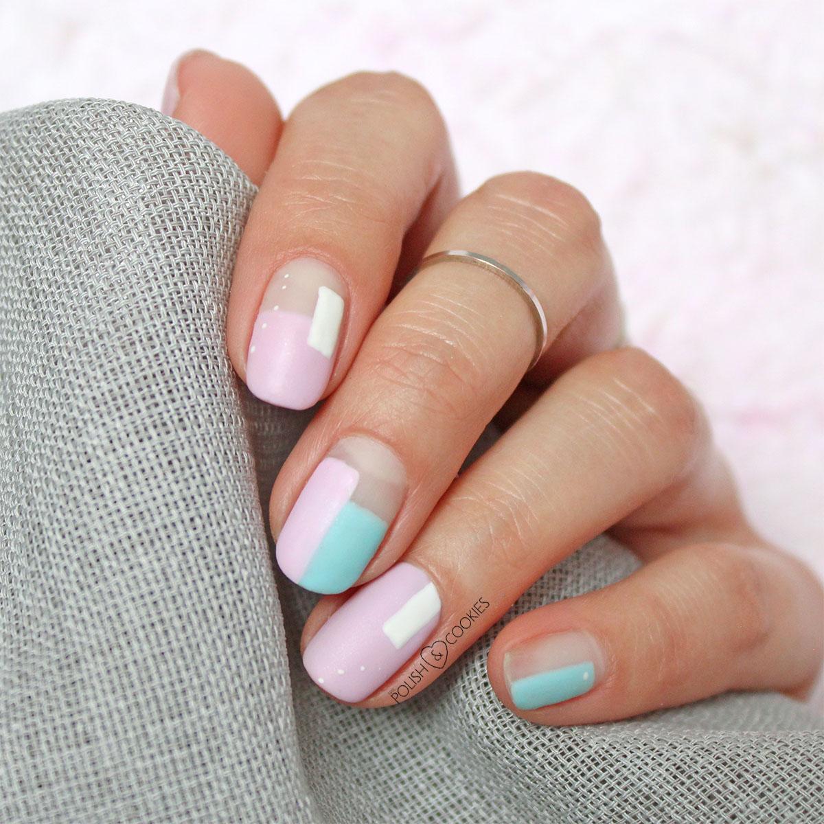 geometryczne paznokcie rozowe