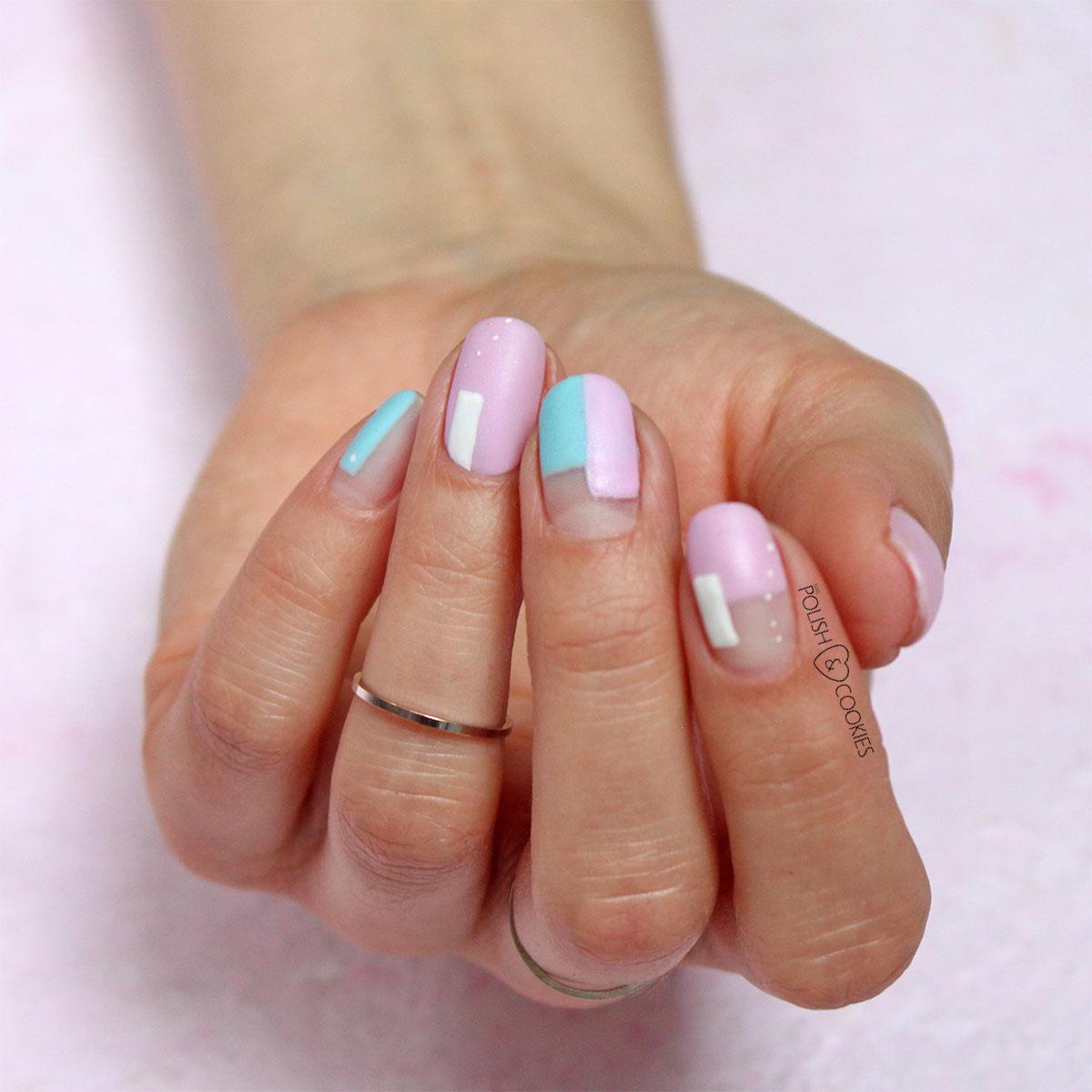 paznokcie geometryczne rozowe