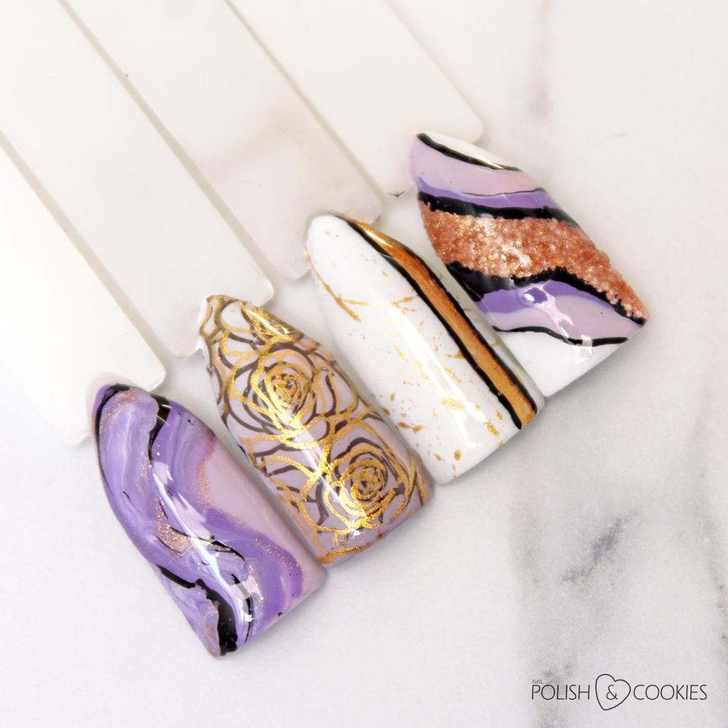 fioletowe paznokcie wzorniki