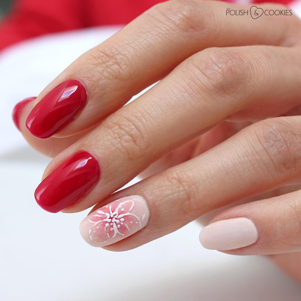 czerwone akwarelowe paznokcie