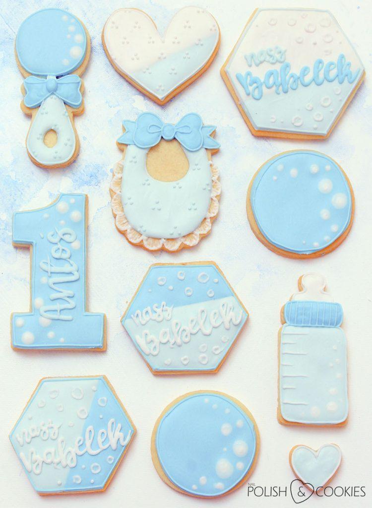 ciasteczka baby shower niebieskie